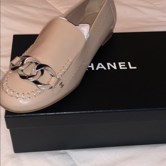 CHANEL Shoes - Chanel patent leather chain loafers